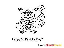 Eule mit Hut St. Patrick's Day gratis zum Ausmalen
