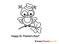 Eule St. Patrick's Day Ausmalbild