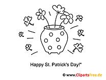 Topf mit Blumen St. Patrick's Day Ausmalbilder
