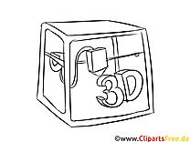 3D Drucker Malvorlage kostenlos