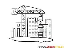 Baustelle Malvorlage, Bild, Grafik zum Ausmalen
