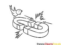 Magnet Bild, Illustration, Clipart schwarz-weiß zum Ausmalen