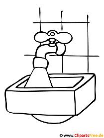 Malvorlage gratis Waschbäcken
