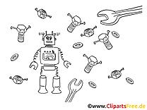 Roboter und Werkzeuge Malvorlage, Bild, Grafik zum Ausmalen