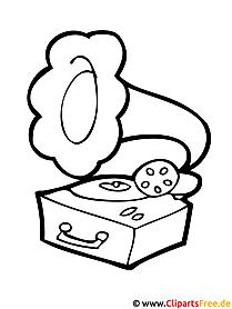 Schallplattenspieler Bild zum Ausmalen Schallplatte Clipart