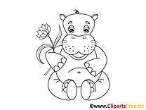 Ausmalbilder Flusspferd - Malvorlagen Kostenlos zum Ausdrucken