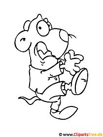 Bild  zum Ausmalen Cartoon Maus
