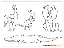 Einfache Ausmalbilder für kleine Kinder mit afrikanischen Tieren