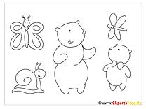 Einfache Malvorlagen für kleine Kinder mit Tieren