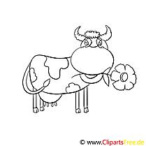 Kuh mit Blume im Mund Ausmalbilder für Kinder gratis