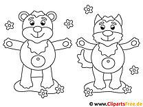 Malvorlagen für Acrylbilder Bär und Katze