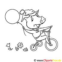 Schweinchen auf dem Fahrrad Ausmalbilder für Kinder gratis
