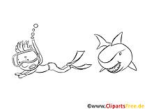 Taucher rennt von dem Hai Ausmalbilld