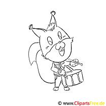 Tier Musiker Ausmalbilder für Kinder gratis