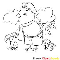 Vogel mit Mütze Ausmalbilder für Kinder gratis