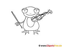 Vorlage zum Ausmalen Frosch mit Geige
