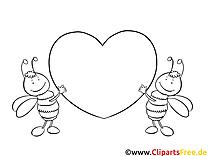 Bienchen mit Herz  Bilder zum Ausmalen