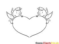 Engelchen mit Herz Bild zum Ausmalen