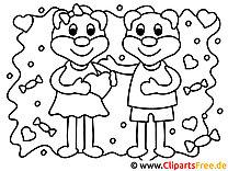 Glückliche Liebe Valentinstag Ausmalbilder