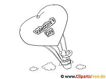 Heissluftballon Valentinstag Bild zum Malen