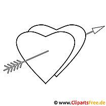 Herzen mit Pfeil Bild zum Ausmalen