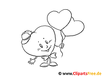 Lächelndes Herz mit Luftballons gratis Bilder zum Ausmalen