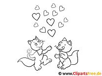 Lustige verliebte Tiere Ausmalbilder für Kinder kostenlos ausdrucken