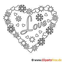 Malbilder zum Drucken - Valentinstag 14. Februar