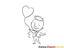 Mann mit Herz-Luftballon Bild zum Ausmalen