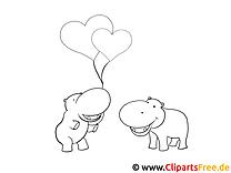 Nilpferde Valentinstag Malvorlagen