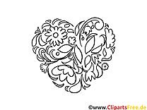 Schnörkel Blumen schwarz-weisse Bilder zum Ausmalen
