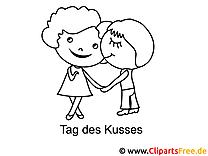 Tag desd Kusses Bilder zum Ausmalen