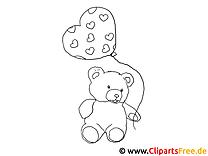 Teddybär mit Luftballon gratis Bilder zum Ausmalen