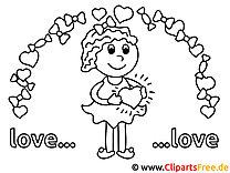 Verliebtes Mädchen Valentinstag Bilder zum Ausmalen