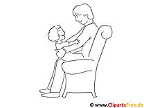 Vatertag Ausmalbild - Papa und Kind