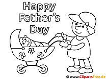 Zeichnung zum Ausmalen Vater mit Kinderwagen
