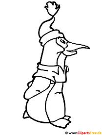 Ausmalbilder zu Weihnachten - Pinguin Ausmalbild