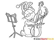 Ausmalen Weihnachten - Katze mit Geige musiziert