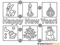 Bilder zum Ausmalen online Happy New Year
