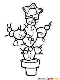 Kaktus - Malvorlagen zu Weihnachten gratis