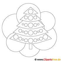 Kostenloses Ausmalbild zu Weihnachten Tannenbaum