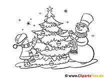 Malvorlage Advent mit Weihnachtbaum, Kinder und Schneemann