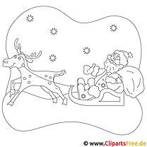 Santa Claus und Reh Malvorlage zu Weihnachten
