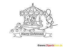 Weihnachtsmarkt Ausmalbild zum Drucken