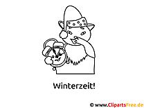 Ausmalbild Winterzeit