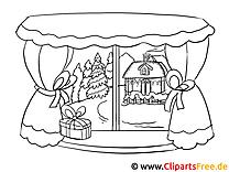 Bild zum Ausmalen - Winterlandschaft im Fenster