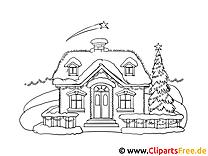 Mal Vorlage Haus im Winter