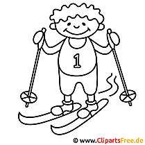 Skifahrer Malvorlage, Bild, Ausmalbild gratis
