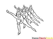 Eisschnelllauf  Bild schwarz-weiß, Illustration, Grafik zum Ausmalen