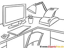 Büro Computer Fax Malvorlage